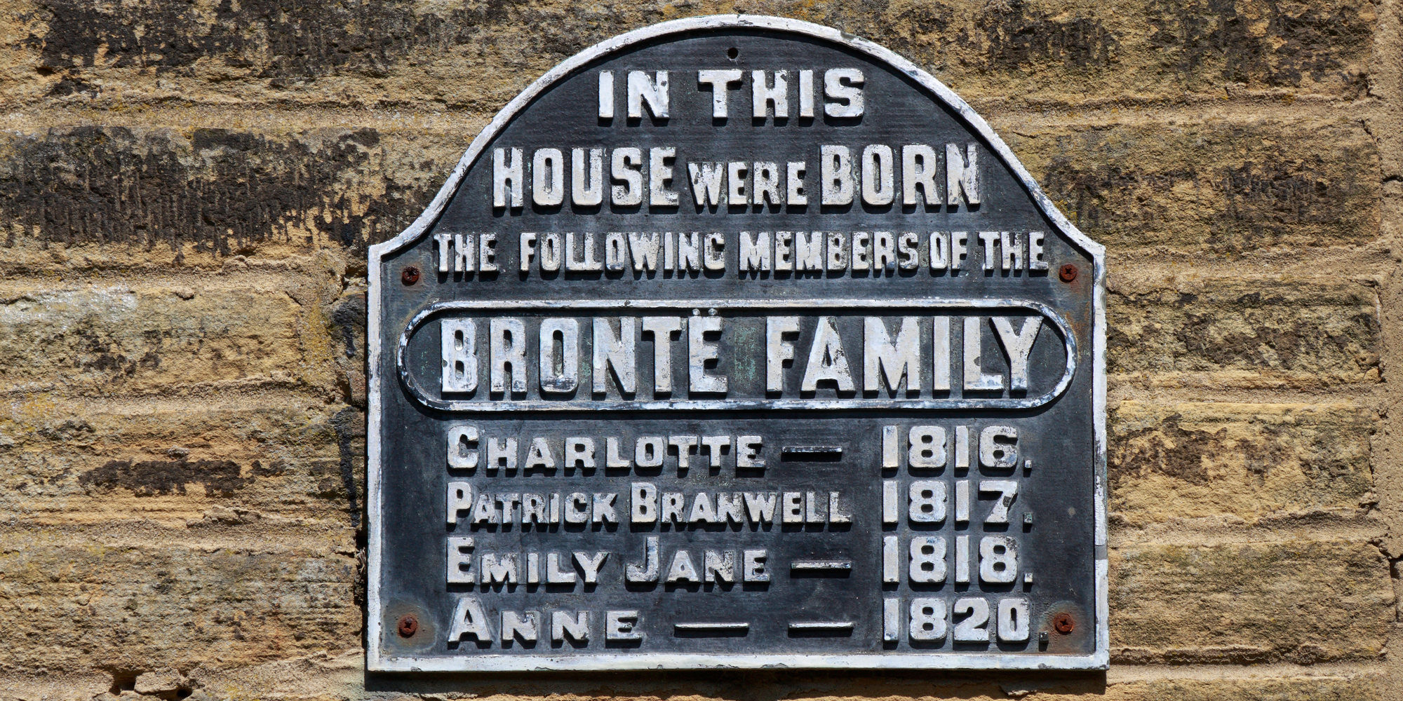 CPR97T Bronte family birthplace plaque, Thornton, Bradford, West Yorkshire, England, UK.