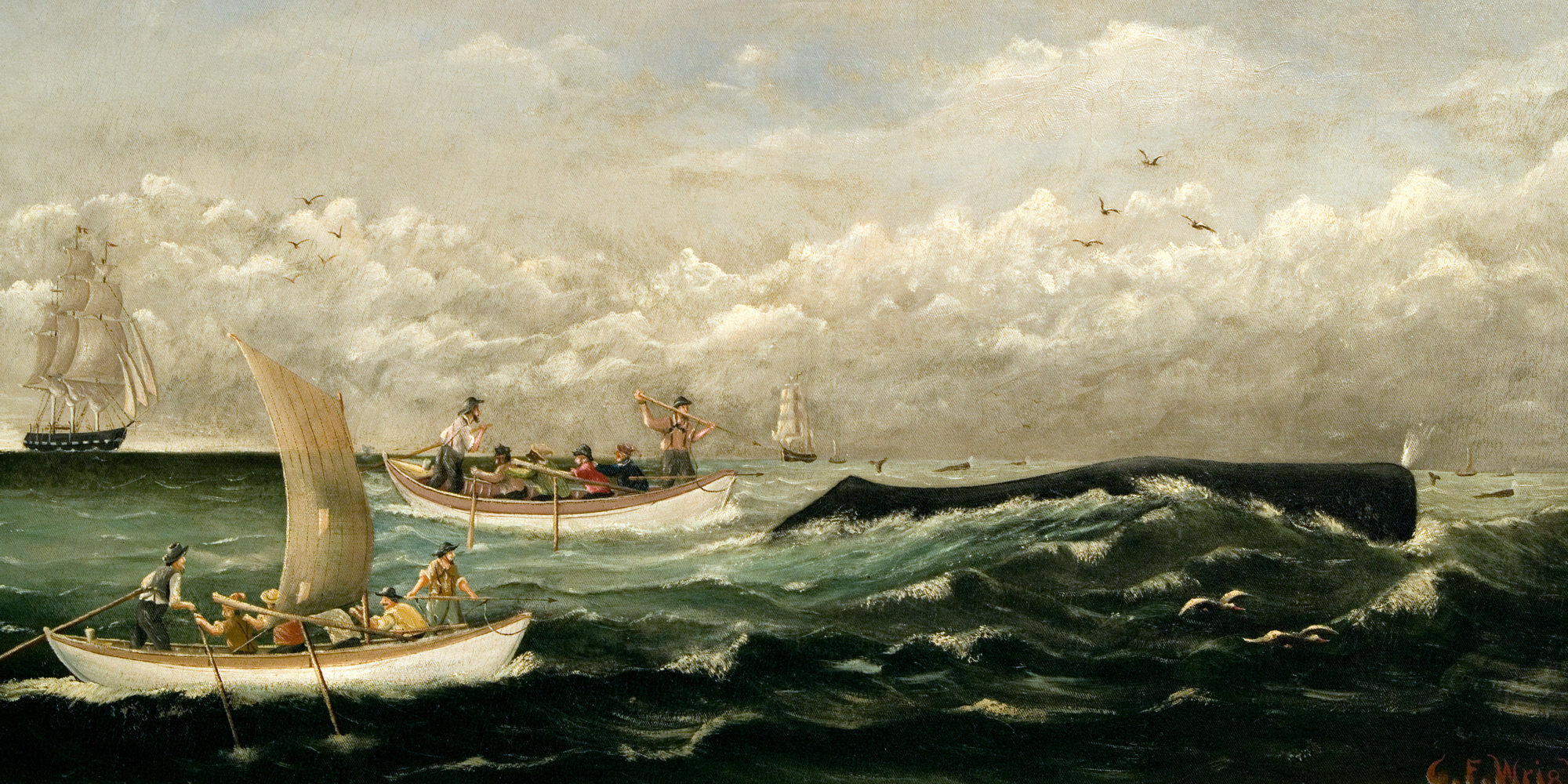 DBJ1FN New Bedford / NB Whaling National Historic Park - 'Sperm Whaling - The Chase' by CF Wright [1885]